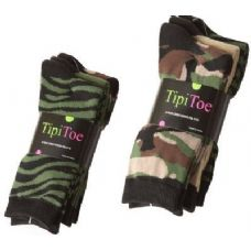 60 Units of Ladies 3 Pack Printed Crew Socks Size 9-11 Camo Color - Womens Crew Sock