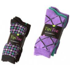 60 Units of Ladies 3 Pack Printed Crew Socks Size 9-11 - Womens Crew Sock