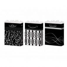 144 Units of Gift-Bag Large Gls Black/White 4 Styles - Gift Bags Assorted