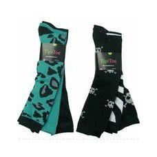 60 Units of Ladies 3 Pack Animal Print & SKull Knee High Sock - Womens Knee Highs