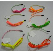 72 Units of Headband with Bow-Neon Colors - Headbands