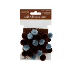 72 Units of conso 1 yard self adhesive brown trim w/brown/teal pom poms