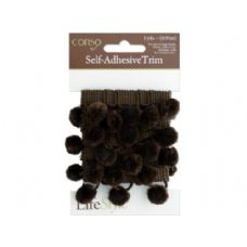 72 Units of conso 1 yard self adhesive brown trim with brom pom poms