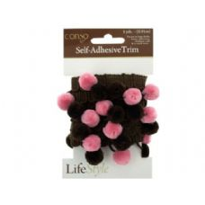 72 Units of conso self adhesive brown trim with brown/pink pom poms