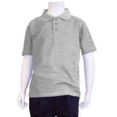 12 Units of Boys School Uniform Polo Shirt Heather Grey - Boys School Uniforms