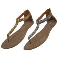 18 Units of Woman's Micro Suede Rhinestone Sandal