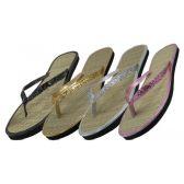 48 Units of Women's Glitter Straw Insole Flip Flops - Women's Flip Flops
