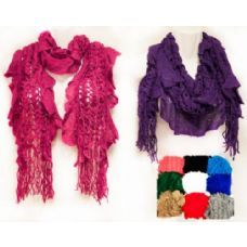 24 Units of Knitted Scarves Solid Color Criss Cross Fringes - Womens Fashion Scarves