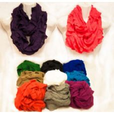 24 Units of Infinity Circle Scarves Solid Color Ruffle - Womens Fashion Scarves