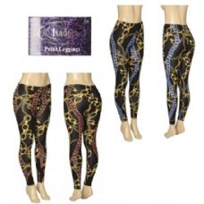 36 Units of Ladies Chain Printed Leggings - Womens Leggings
