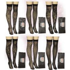 120 Units of Ladies Black Knee High Assorted Prints - Womens Knee Highs