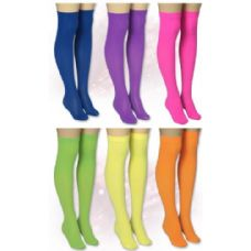 120 Units of Ladies Solid Neon Color Knee High - Womens Knee Highs