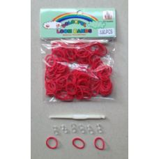 144 Units of 100pk Loom Bands [RED] - Bracelets