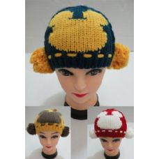 24 Units of Child's Knitted Beanie with PomPoms on Side
