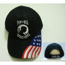 24 Units of Air Mesh POW Hat [Flag on Bill]