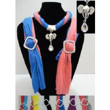 12 Units of Scarf Necklace-Two Color Scarf with Elephant Charm - Womens Fashion Scarves