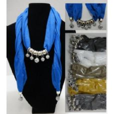 "12 Units of Scarf Necklace-Zebra Print Beads [Sheer Scarf]-70"" - Womens Fashion Scarves"