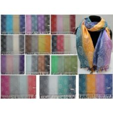 48 Units of Fashion Pashmina with Fringe [4Color Fade] Sm Paisley - Womens Fashion Scarves