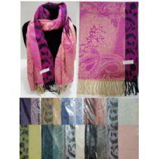 36 Units of Fashion Pashmina with Fringe [Paisley w Cheetah Print Edge] - Womens Fashion Scarves