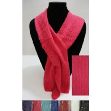 12 Units of Knitted Pull-Through Scarf - Winter Sets Scarves , Hats & Gloves