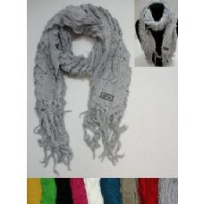 72 Units of Knitted Ruffled Scarf with Fringe - Winter Sets Scarves , Hats & Gloves