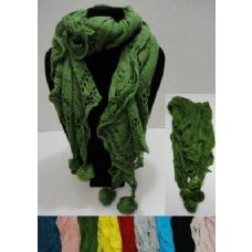 12 Units of Knitted Ruffled Scarf with PomPoms - Womens Fashion Scarves