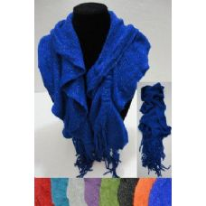 12 Units of Knitted Scarf with Fringe [Metallic Sparkle] - Womens Fashion Scarves