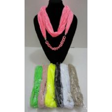 12 Units of Loop Scarf with Chain Link Design - Womens Fashion Scarves