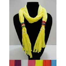 """12 Units of Scarf Necklace with MultiColor Wooden Beads-72"""" - Womens Fashion Scarves"""