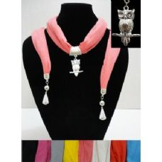 """12 Units of Scarf Necklace with Owl Charm and End Charms-72"""" - Womens Fashion Scarves"""