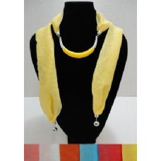 """12 Units of Scarf Necklace--Crescent Moon with End Charms [Ribbed Scarf]-72"""" - Womens Fashion Scarves"""