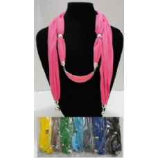 """12 Units of Scarf Necklace--Crescent Moon with End Charms 70"""" - Womens Fashion Scarves"""