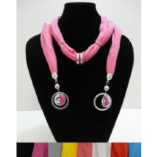"""12 Units of Scarf Necklace--Two Color Rings with End Charms--76"""" - Womens Fashion Scarves"""