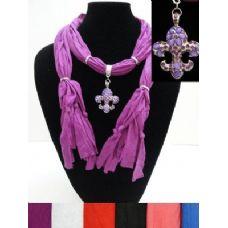 "12 Units of Scarf Necklace-Jeweled Fleur de Lis--68"" - Womens Fashion Scarves"
