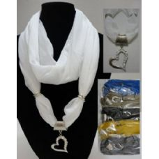 """12 Units of Scarf Necklace-Loop Scarf-Solid Heart w/ Rhinestones 70"""" - Womens Fashion Scarves"""