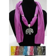 """12 Units of Scarf Necklace-Scrollwork Elephant 70"""" - Womens Fashion Scarves"""