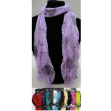 12 Units of Sheer Scarf-Roses - Womens Fashion Scarves