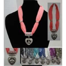 """12 Units of Short Scarf Necklace-Peace Sign Heart 30"""" - Womens Fashion Scarves"""