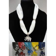 """12 Units of Short Scarf Necklace-Rhinestone Elephant 30"""" - Womens Fashion Scarves"""