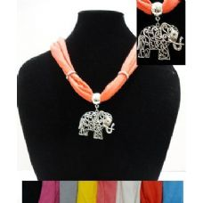"""12 Units of Short Scarf Necklace-Scrollwork Elephant 30"""" - Womens Fashion Scarves"""
