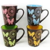 48 Units of 11 Ounce Stoneware Mug Butterfly Design