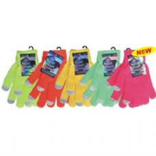 36 Units of Winter Text Finger Glove Neon - Winter Gloves