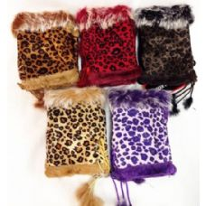 24 Units of Fingerless Faux Fur Suede Leopard Texting Gloves - Conductive Texting Gloves