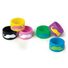 96 Units of Mustache Jumbo Silicone Ring - Rings