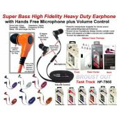 24 Units of Super Bass Anti-Tangle Flat Wire Stereo Earphone  with Microphone plus Volume Control