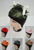 24 Units of Kid's Fleece Hat w Antlers & Ears [Fleece Lining & Ear Flaps] - Junior / Kids Winter Hats