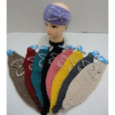 72 Units of Wide Hand Knitted Ear Band--Ribbon with Rhinestones - Clamps