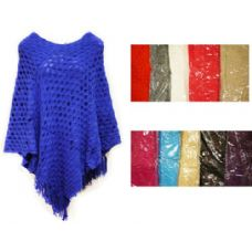24 Units of Knit Poncho Shawl Assorted Cris Cross Pattern - Winter Scarves