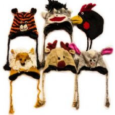 48 Units of 100% Wool Nepal Handmade Animal Hats Assorted - Winter Animal Hats