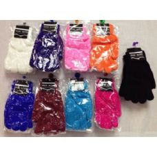 120 Units of Lady's Magic Gloves Assorted Colors - Knitted Stretch Gloves